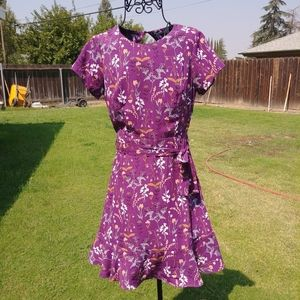 Collective Concepts Purple Floral skirted dress